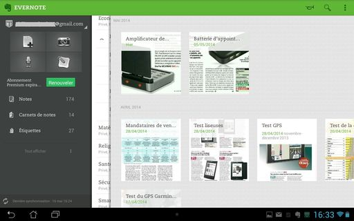 aperçu de l'application Evernote pour Android