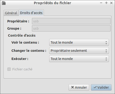 Permissions à accorder au script